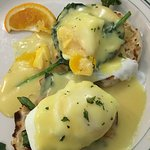 Eggs Florentine - delicious w/ a side of fruit