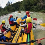 Enjoying the rapids on Soca River with our young family