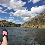 Madison River. Purchased the water shoes at the check in for $10.