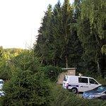 Aussicht von Zimmer 10 (Parkplatz und direkt Wald)
