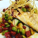 Sea Bream with Edamame, courgette, chorizo