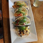 Chicken tacos were tasty and nicely presented with rice on the side.