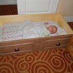 Baby had to sleep in a drawer since the crib we were promised 3 times was given away to someone