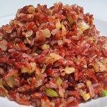 Arroz rojo biólogico con verduras y manzana