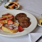 Strawberry French toast with sausage