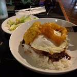 Loco Moco comes wth the two onion rings.