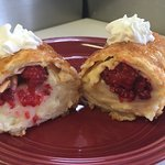 Homemade white chocolate and fresh raspberries fried Crêpe $7 or buy 2 for $12