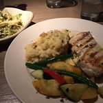 HALIBUT SPECIAL with SAUTEED VEGETABLES and MASHED POTATOES