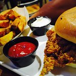 Fried chicken sandwich with fries (without the sauce)