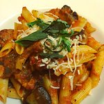 Penne With Italian sausage in our homemade marinara sauce