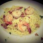 Spaghetti alla Carbonara with Shrimps