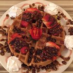 Waffle with caramelized pecans and strawberries