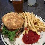 Beer and a black bean burger.