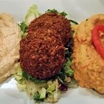 Tapas Falafel Plate - flash fried falafel croquettes w/traditional hummus, roasted red pepper hu