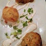Trio - braised pork & goat cheese stuffed piquillo; crab & Gorgonzola mushroom, panko deviled eg