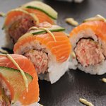 Most popular california roll Salmon Roll on Fire