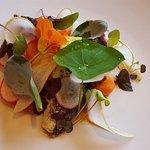 Cured Strangford Lough Mackerel, Pear, Horseradish, Pickled Carrot, Garden Cress