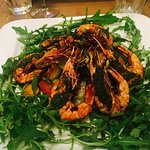 King prawns on rocket salad