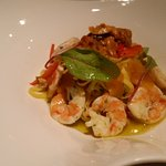 Fresh Tagliolini starter with shrimps and bottarga