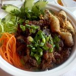 Grilled Pork and spring rolls with Vermicelli noodles