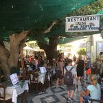Cluster of restaurants under the trees