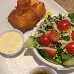 Fried halibut with a side salad - perfectly fried fish!