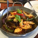 Spicy eggplant with mock shrimp.  :)