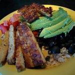 Original, medium bowl, vegan with avocado, tempeh added.
