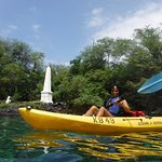 Kayaking near Cook Monument, while I Snorkel