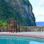 The view across the pool towards Petit Piton