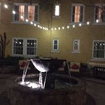 courtyard fountain and lights