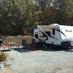 Here are some pics of our campsite, facility bathrooms, some empty campsites and a view from the