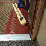 This partially blocked our door. Also, beds & tables lined the hallway on our last day.