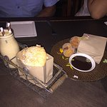 Cheese starter - incredible - salmon main, buffalo main and then doughnuts and almond cookies th