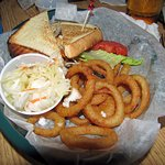 perch sandwich and onion rings
