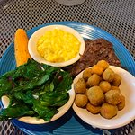 Pot roast, grits, spinach, and fried okra.