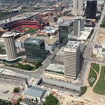 On the right the red area is the St Louis Cardinal Stadium.