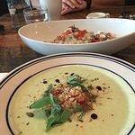 Silky soup and green quinoa, feta salad