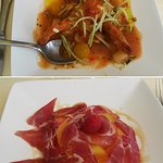 Deux entrées (8/2016) : gaspacho (en haut, menu à 29) et melon jambon (menu à 24).