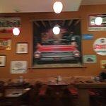 Desert and inside cafe