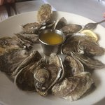 Plate of steamed oysters from happy hour
