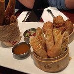 Thai Appetizer; Crapmeat in the blanket, Springroll, curry puff