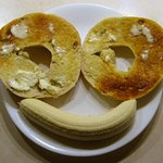 A happy breakfast with John's Jalapeno Bagel and Banana.