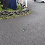 Broken beer bottle in parking lot after loud night