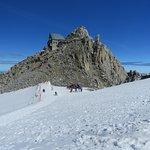 Le sommet des Grands Montets et la zone sécurisée du glacier
