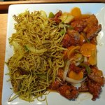 Honey chilli chicken with Singapore noodles