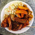 Barbecue and fried chicken plate