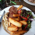 sirloin steak and chunky chips