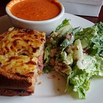 Croque Monsieur, tomato soup, salad