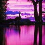 Sunset over the villa pool